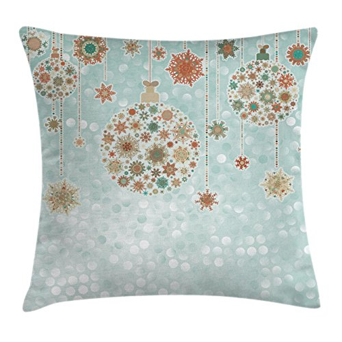 Christmas Decorations Throw Pillow Cushion Cover by Ambesonne, Balls Vintage Celebration Decor Winter Wonderland Themed Snowflakes, Decorative Square Accent Pillow Case, 16 X 16 Inches, Blue Tan