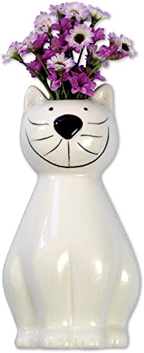 Bits and Pieces – Whimsical Ceramic Cat Hanging Vase – Adorable Wall Hanging Kitty Vase or Planter Urn – Wonderful Indoor D cor to Hold Your Favorite Cut Flowers