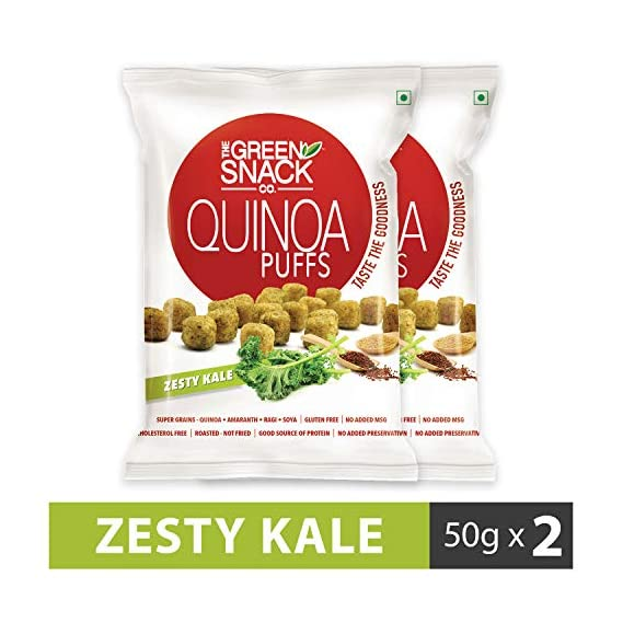 The Green Snack Co. Gluten-free Quinoa Puffs Zesty Kale, 50 g - Pack of 2