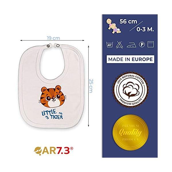 QAR7.3 Completo Vestiti Neonato 0-3 mesi - Set Regalo, Corredino da 5 pezzi: Body, Pigiama, Bavaglino e Cuffietta (Blu… 5