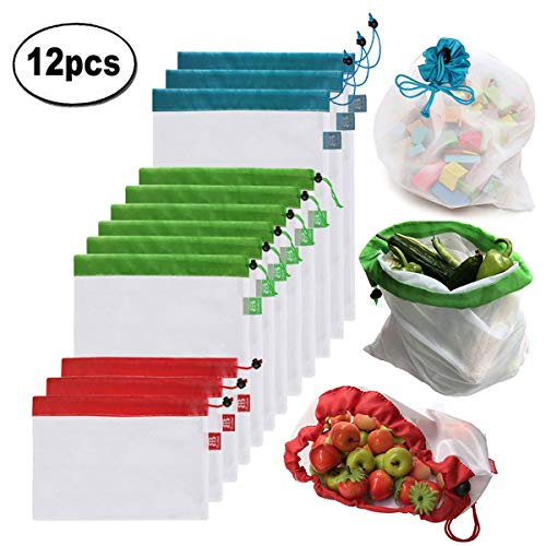 Brotrade Reusable Mesh Produce Bags Premium Washable Eco Friendly Bags with Tare Weight on Tags for Grocery Shopping Storage, Fruit, Vegetable, and Toys (Set of 12 PCS)