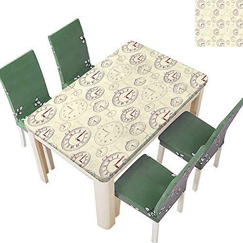 (Printsonne Polyester Table Cloth Watch Roman Digits Wallpaper Ative Cream Maro Table 54 x 72 Inch (Elastic Edge))
