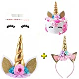 #10: Unicorn Cake Topper with Eyelashes and Unicorn Headband Unicorn Party Supplies for Birthday Party, Baby Shower and Wedding Party(Gold)