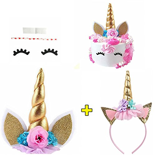 Price comparison product image Unicorn Cake Topper with Eyelashes and Unicorn Headband Unicorn Party Supplies for Birthday Party,  Baby Shower and Wedding Party(Gold)