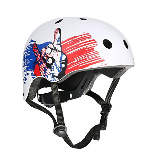 VOKUL Skate Helmet CPSC ASTM Certified Impact Resistance Ventilation for Kid/Youth/Adult Skateboarding Inline Skating Cycling and Other Outdoor Sports (White, M)