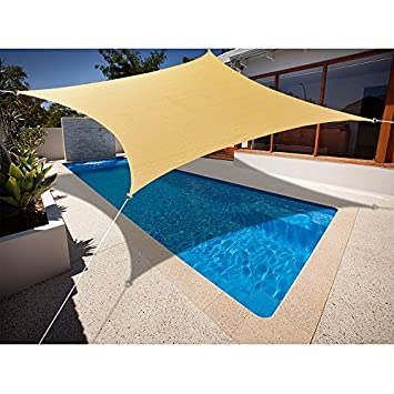 Alion Home 9.5 x 15 Rectangle PU Waterproof Woven Sun Shade Sail 1, Sand