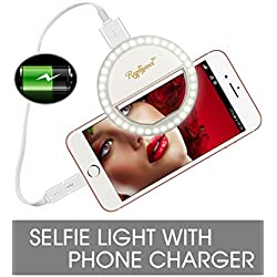 Raphycool Selfie Light Rechargeable, Selfie Ring Light iPhone, Ring Light Phone, 1500Mah Power-Bank 36 Led Light Clip on iPhone Samsung Galaxy iPad Photography Camera,White