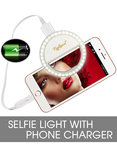 Raphycool Selfie Light Rechargeable, Selfie Ring Light iPhone, Ring Light Phone, 1500Mah Power-Bank 36 Led Light Clip on iPhone Samsung Galaxy iPad Photography Camera,White by Raphycool