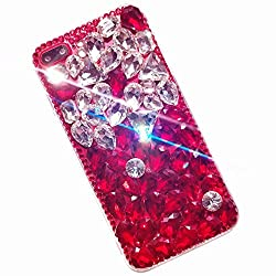 White & Red Rhinestone With TPU Mobile Case