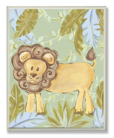 The Kids Room by Stupell Lion in the Jungle Rectangle Wall Plaque (Blue Theme Room)