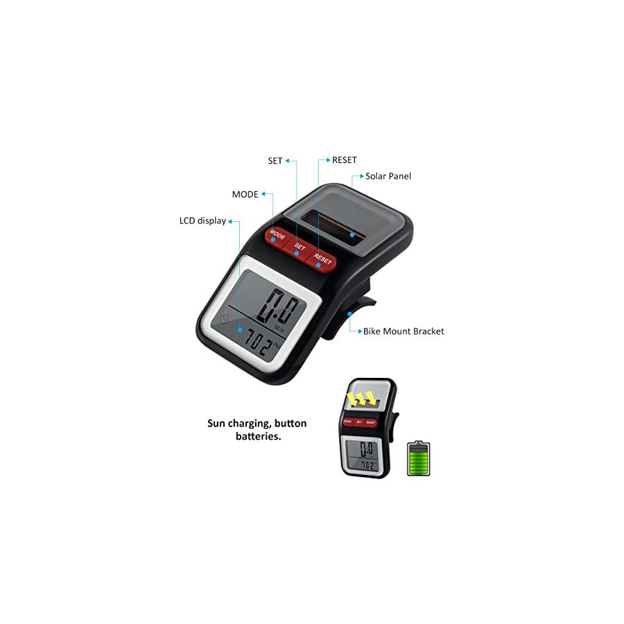BOMEON Bike Speedometer Multifunction LCD Solar Power Bicycle Speedometer Odometer (Black)
