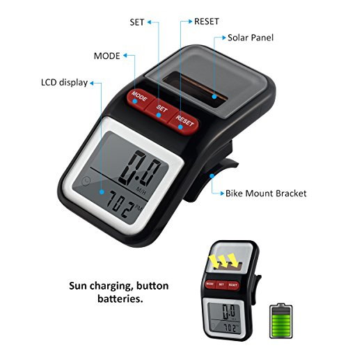 Bike Speedometer BOMEON Multifunction LCD Solar Power Bicycle Pedometer Odometer Black