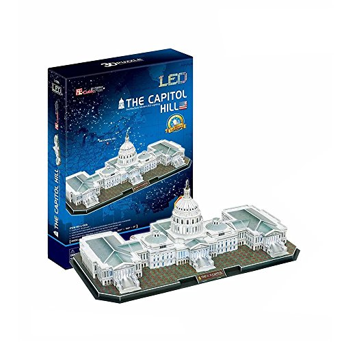 The U.S. Capitol LED Light Collectible Fun Educational 3D Assembly Puzzle Model Toy 150 pieces