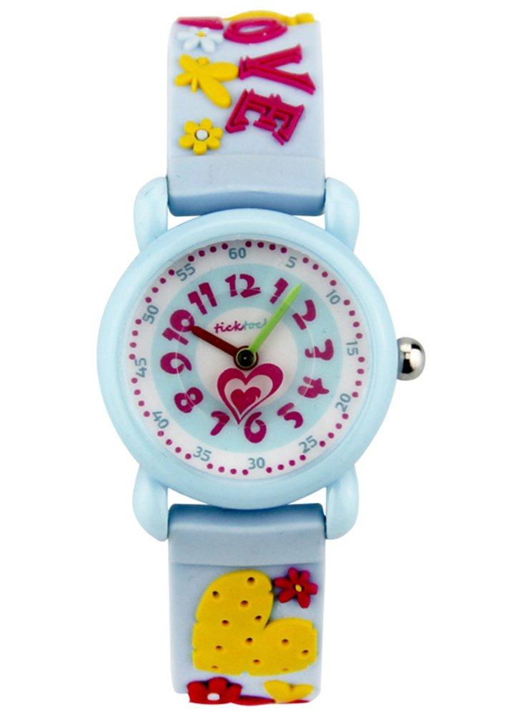 Cheamlion Kids Toddler Girls Blue Cute Love Elastic Analog Wrist Quartz Watch