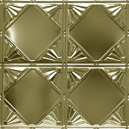 Shanko BR307DA Pattern 307 Authentic Pressed Metal Wall and Ceiling Tiles, 20 sq. ft., Brass by Shanko