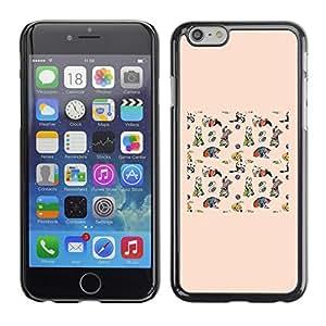 Vortex Accessory Carcasa Protectora Para APPLE iPHONE 6 - Peach Drawing Kids Animal Pattern Cat -