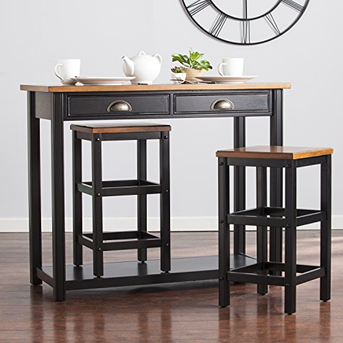 Elland Black and Walnut Two-tone Counter Height Space Saving 3 Pieces Breakfast Set