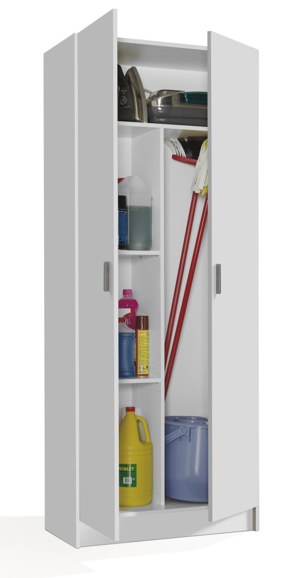 Vita 2 Door Kitchen Utility Room Cabinet in White - 180cm x 73cm x 37cm DFurnitureStore