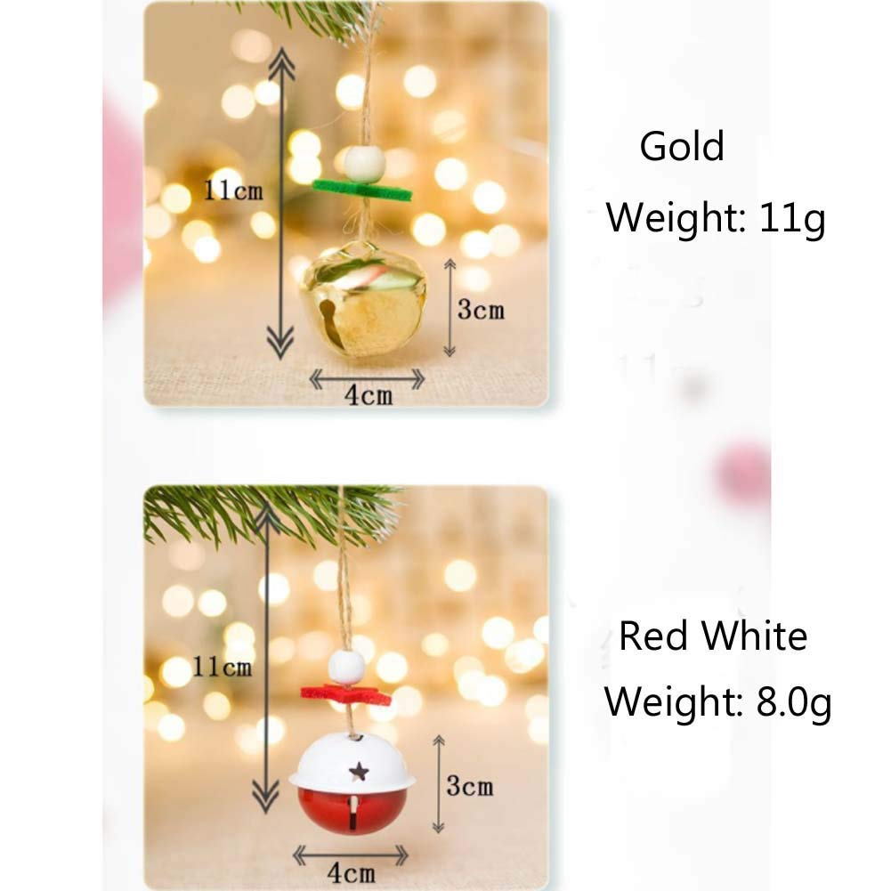 Mdurian 16pcs Christmas Jingle bell Ornament Diy Crafts Xma Tree Hanging Bells Christmas Tree Holiday Decoration Gold Red White
