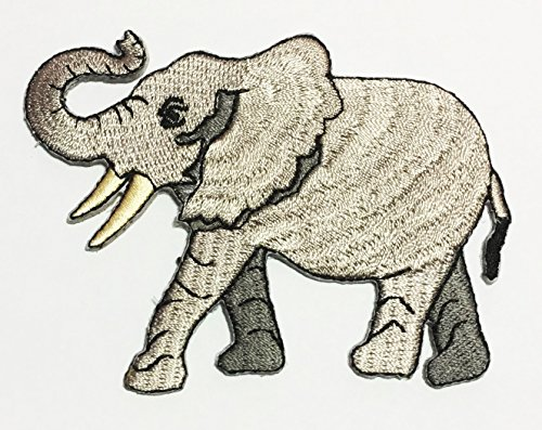African Elephant Safari Wildlife Embroidered Sew Iron on Patch p#75