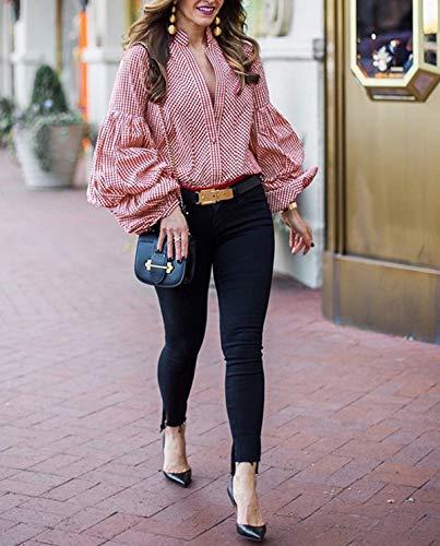 Rosso Manicotto Casual Shirts Reticolo Tops e Bluse T Lanterna Camicie Maglietta Shirt Primavera Moda Blouse Cime Autunno Donna YxTqwIP