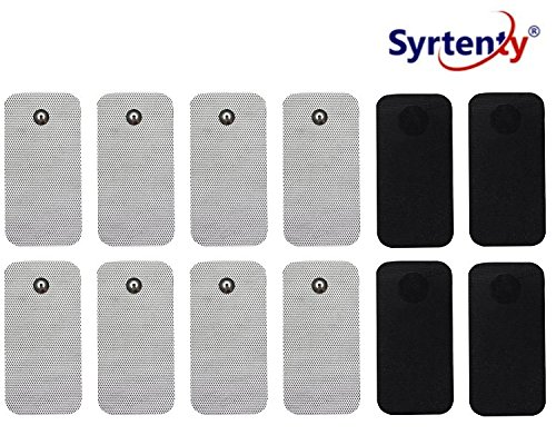 Syrtenty TENS Unit Electrodes Pads SNAP 2x4 12 Pcs Replacement Pads Electrode Patches For Electrotherapy