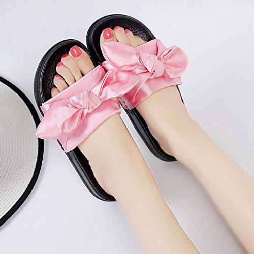 OverDose Damen Sommer Slippers Frauen Flip Flops Pantoffeln Flache Sandalen Sommer Bow Beach Casual Schuhe Flach Schuhe Rosa