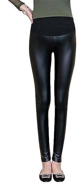 d6019440716a9 Hibukk Women PU Black Shiny Full Panel Fleece Lined Maternity Leggings,  NormalThick XS,Manufacturer