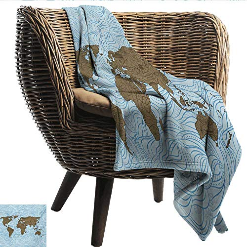 (EwaskyOnline Floral World Map Couch Blanket World Map with Wavy Ocean Lines Flower Continent Icons Artful Image Camping Throw,Office wrap 84