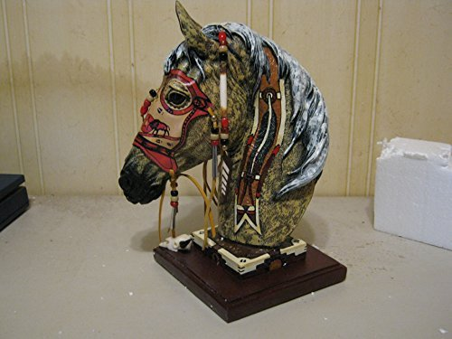 Decorated Mask - Buffalo Spirit Horse 13 Inch Hand Decorated Statue with Genuine Buckskin Mask # HSBS