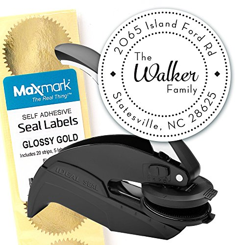 (Custom Monogram Address Embosser - Personalized Round Seal with 50 Seal labels - Style EM023)