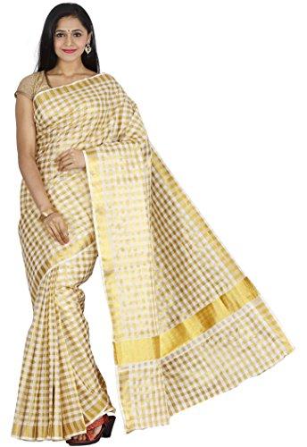 JISB Women's Kerala Zari Check Cotton blend Saree, with running blouse ()