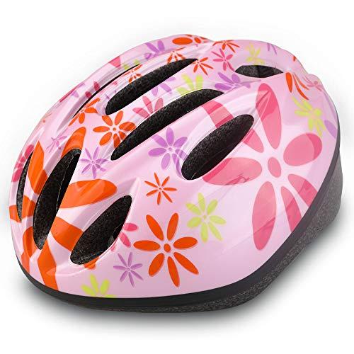 Dostar Kids Bike Helmet, CPSC Certified Lightweight Impact Resistance Adjustable Helmet for Ages 5-14, Multi-Sports Safe Durable Comfortable Bicycle Skateboard Helmets (Eight Petals Flower-pink2)