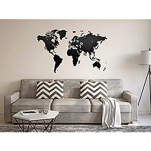 MiMi Innovations – Decoración de pared de mapa del mundo de madera de lujo 130 x 78 cm – Negro
