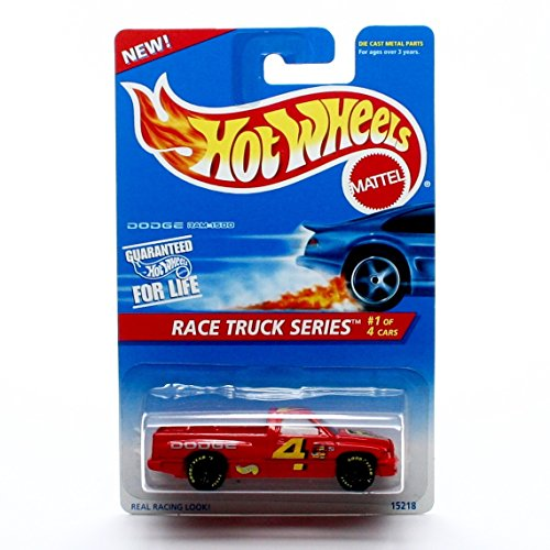 Basic Series DODGE RAM 1500 (Red #4) Collector #380 Hot Wheels 1995 HW RACE TRUCK SERIES (01/04) 1:64 Scale Die-Cast (Set Dodge Truck)