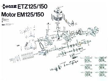 FEZ Explosionszeichnung vom Motor ETZ150: Amazon.de: Auto