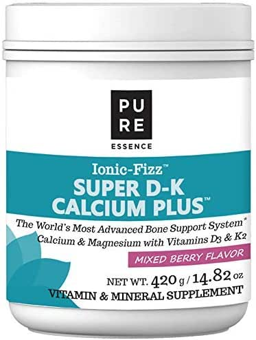 Pure Essence Ionic Super D-K Calcium Plus by Pure Essence - With Extra Magnesium, Vitamin D3, Vitamin K2 For Strong Bones and Stress Relief - Mixed Berry - 14.82oz