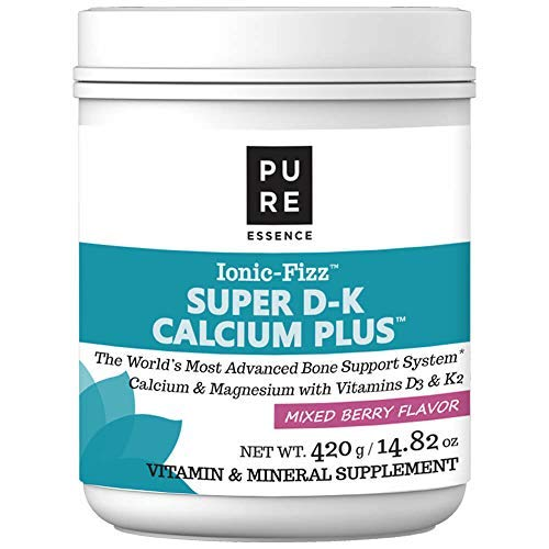 Pure Essence Ionic Super D-K Calcium Plus by Pure Essence - With Extra Magnesium, Vitamin D3, Vitamin K2 For Strong Bones and Stress Relief - Mixed Berry - 14.82oz ()