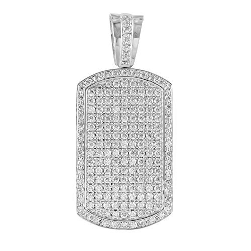 White Finish Dog Tag Pendant Mens Charm Simulated Lab diamonds Micro Pave Unique -