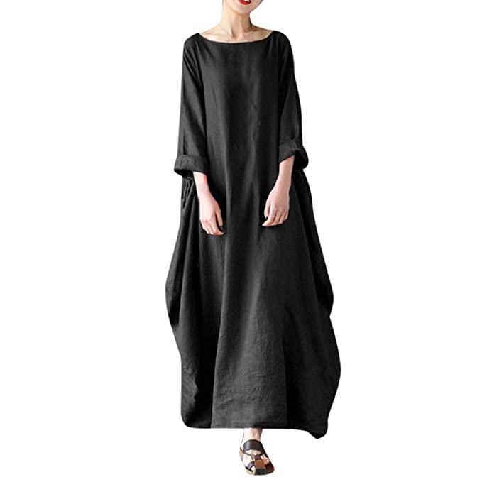 1a289adb504 Image Unavailable. Image not available for. Color  Kangma Women Crew Neck  Loose Casual Solid Cotton Baggy Oversized Long Maxi Dress