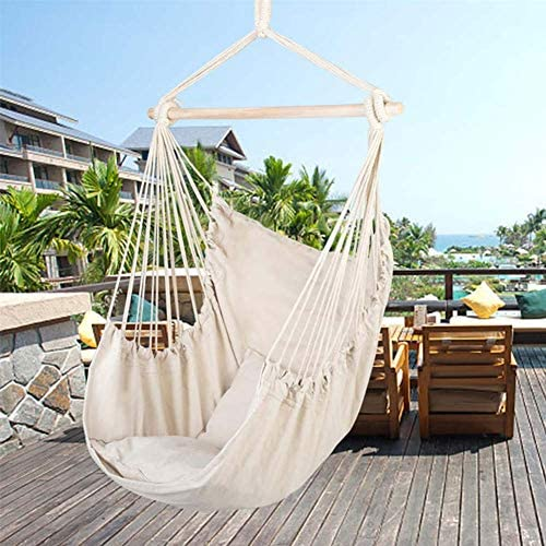 NICESOUL Cotton Canvas Hanging Rope Chair Hammock Swing Seat with 2 Pellows Cushions for Indoor Outdoor Kids Adualt Max. 250 Lbs Beige