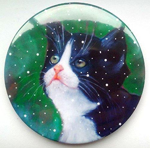 "Big Fridge Magnet, 3.5"", Tuxedo Cat With Snowflakes, Original Art, OOAK Magnet, Animal, Pet"