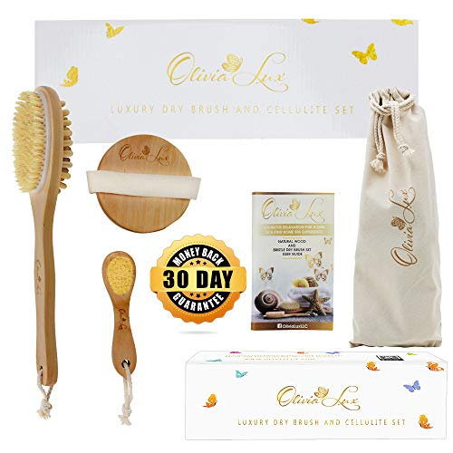 Dry Brushing Body Brush by Olivia Lux - Long Handle Natural Boar Hair Bristles and Cellulite Massager - Dead Skin Exfoliating Solid Wood Brushes - Round Facial and Body - Head to Foot Spa Detox Glow