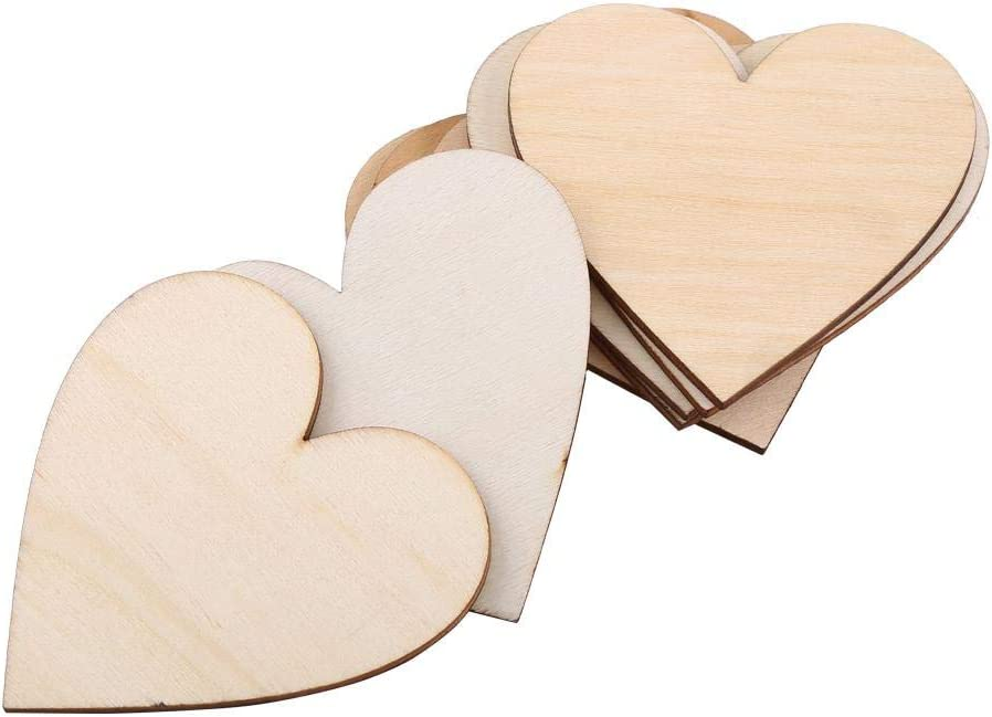 Rustic Wooden Love Heart Pattern Shape Art Craft Plaques Slices Scatter Embellishment Decorations for Weddings 100 Pieces 80mm