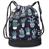 LANGEGE Hello Summer Cactus Outdoor Bundle Backpack Drawstring Backpack Bags Pack Travel Sport Gym Sack Bag for Men/Women and Kids