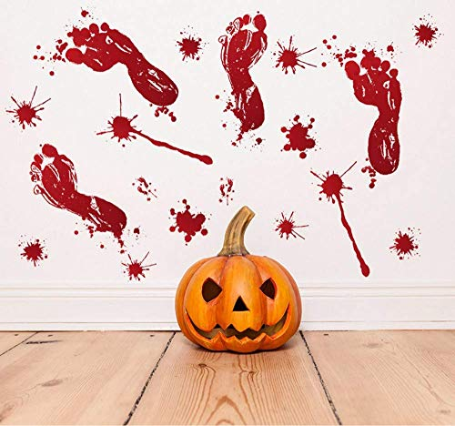 JQSM Halloween Blood Footprint Wall Sticker Window Bar Haunted House Removable Background Wall Stickers Home Decor Living Room -