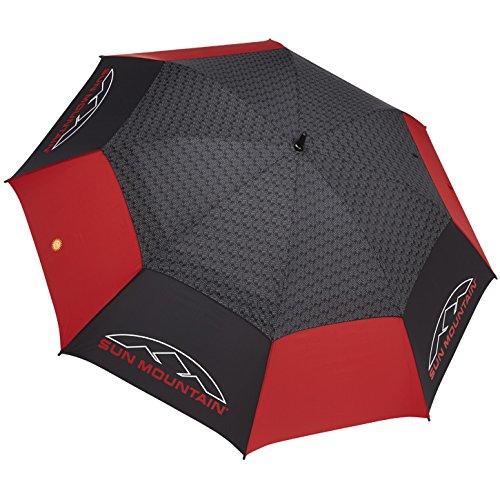 Sun Mountain Golf Manual UV Umbrella, Black/Red