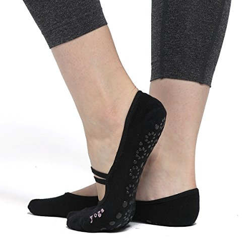 Women's Ballet Grip Socks (2 Packs) for Barre Pilates Yoga Dance Low Cut Socks Non Slip Skid Cotton Ankle Sport Toe Shoes One Size 5-10