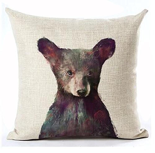 Andreannie Nordic Simple Ink Painting Watercolor Animal Adorable Bear Cotton Linen Throw Pillow Case Personalized Cushion Cover NEW Home Office Decorative Square 18 X 18 Inches Christmas (Linen Personalized Baby Pillow)