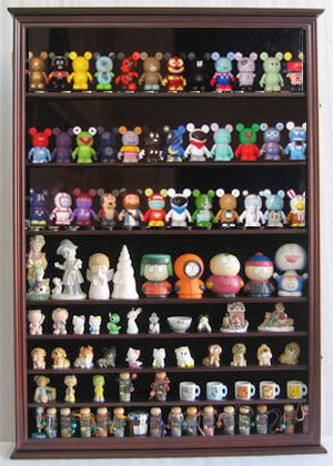 (DisplayGifts Large Wall Mounted Curio Cabinet Shadow Box for Action Figures, Vinylmations, Funko Pops, Figurines, CDSC16)